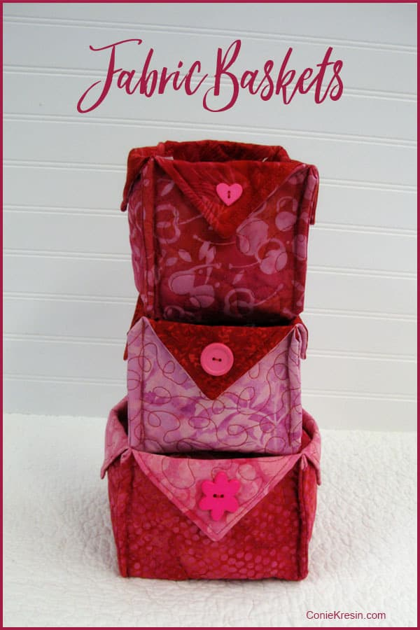 Fabric Baskets for Valentines Day easy tutorial at conniekresin.com