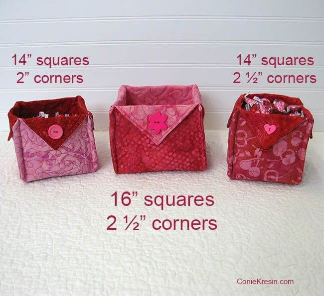 Fabric Baskets for Valentines day sizes to sew baskets