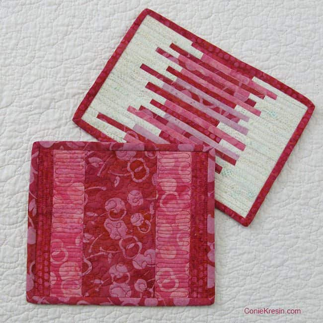 Galentine's Day and Valentine's Day Batik Fabric Baskets tutorial link and tutorial for Batik Mug Rugs - conniekresin.com