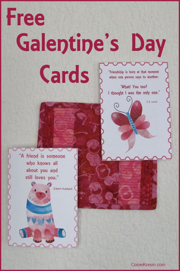 Galentine's Day free printable cards from ConnieKresin.com