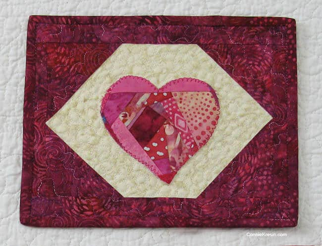 Valentine Mug Rug with Appliqued heart
