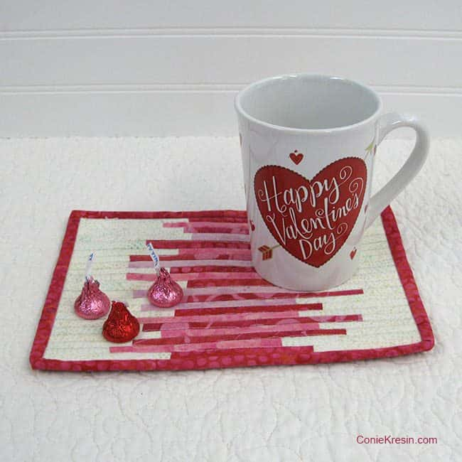 Valentines Day mug rug free tutorial