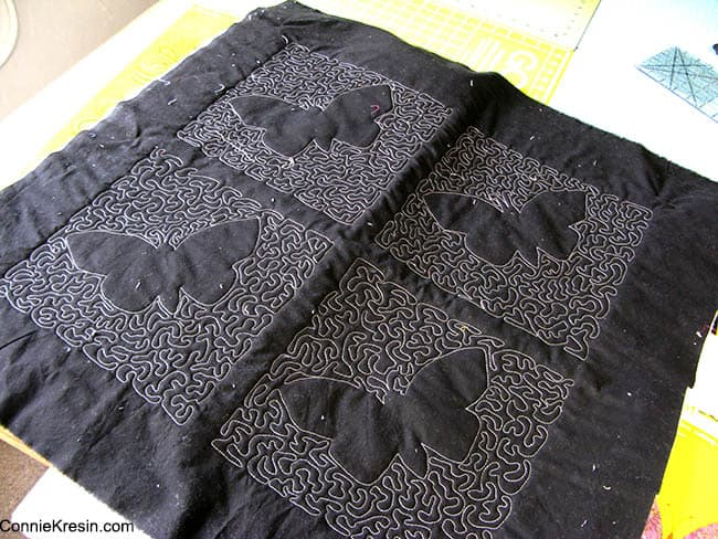 Butterfly Quilt backing black kona cotton