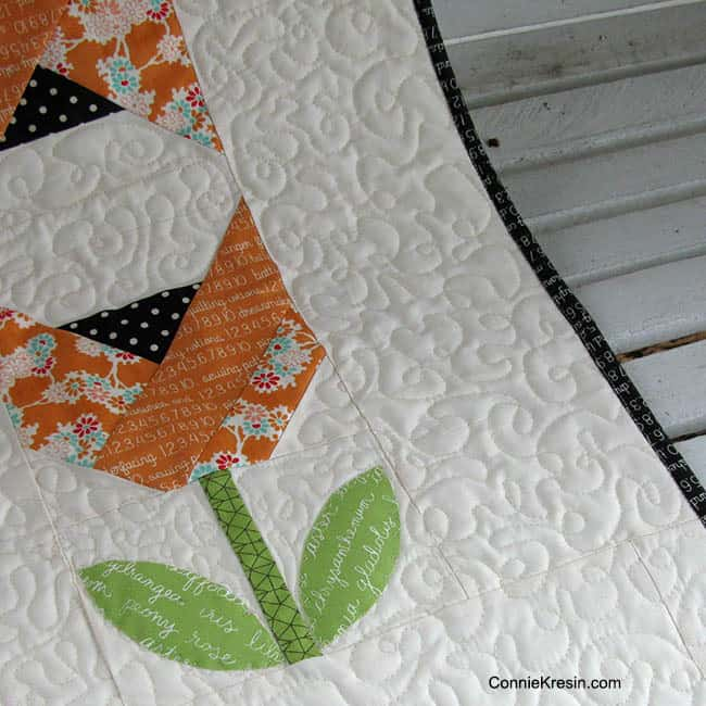 Dutch Tulips baby quilt freemotion applique