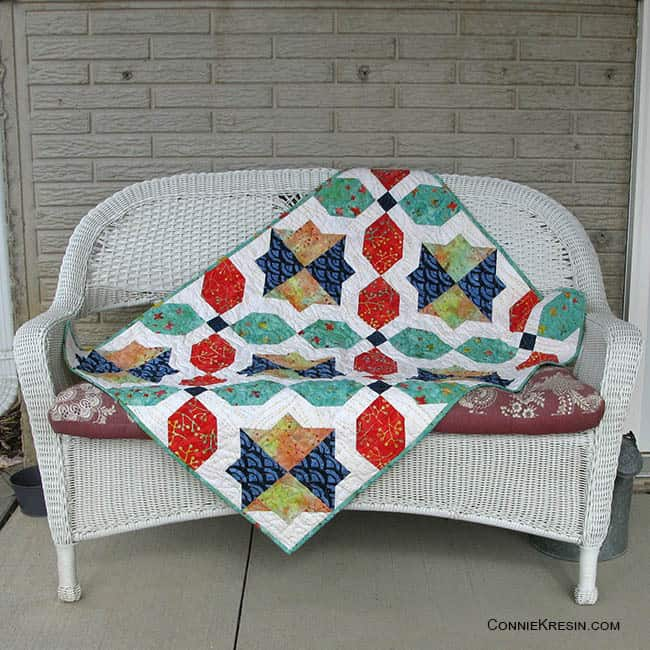 Morning Glory quilt Sew Along on bench