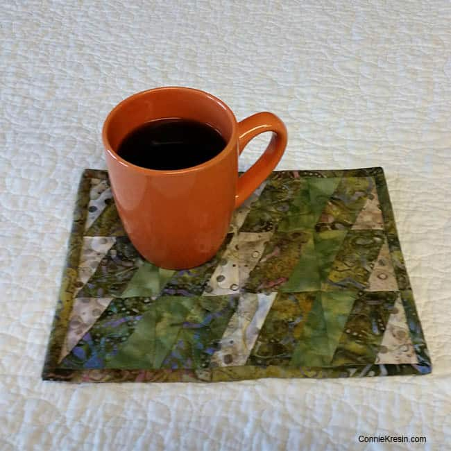 BasiX Green Mug Rug Tutorial Coffee