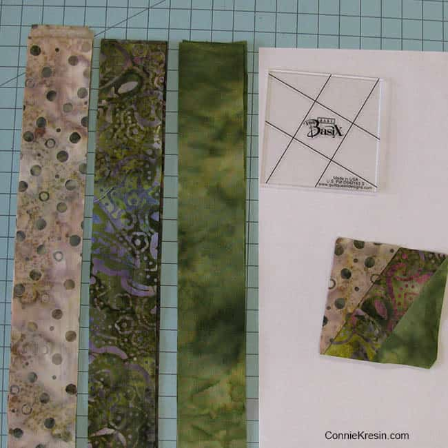 BasiX Green Mug Rug tutorial strips