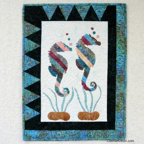 Coastal Seahorses Appliqued Wall Hanging