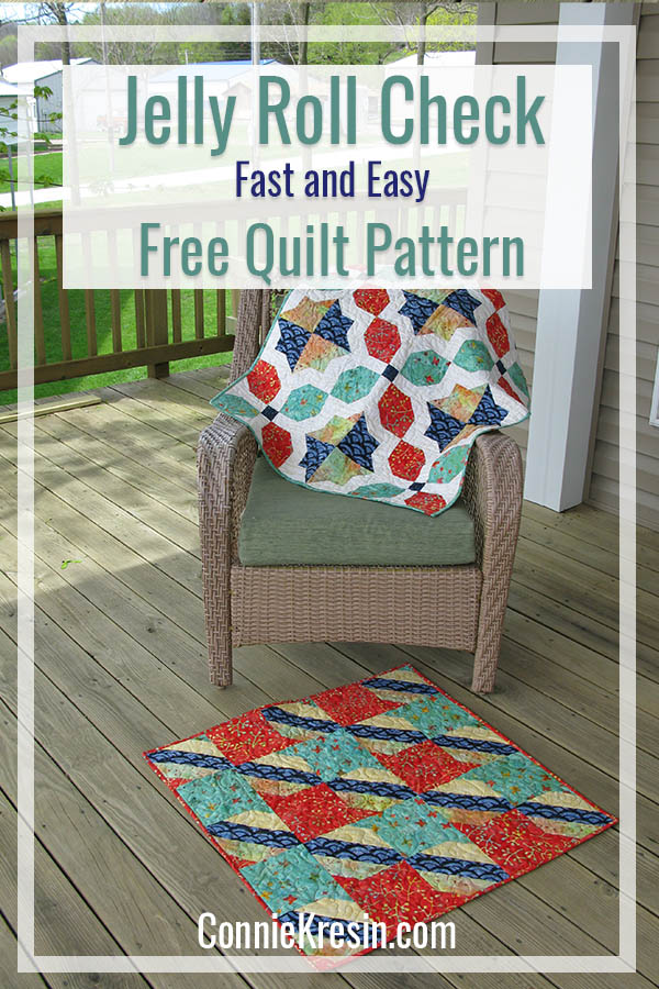 Easy Free baby quilt pattern called Jelly roll Check