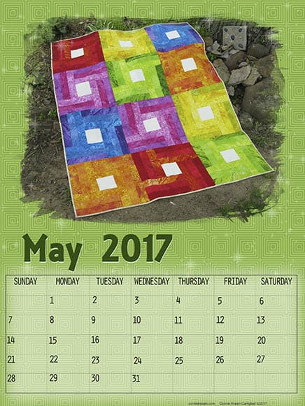 Free May printable quilt calendar