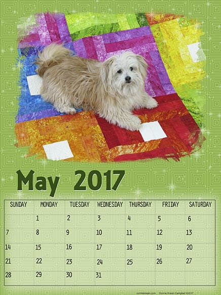 Free printable May Calendar Sadie