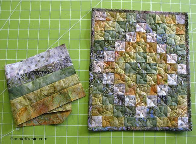 Mini Around the World Mug Rug fabrics