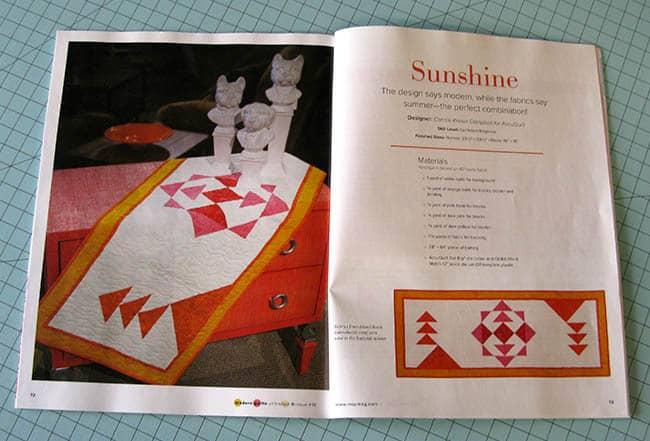 Sunshine Table runner in Modern Quilts Magazine