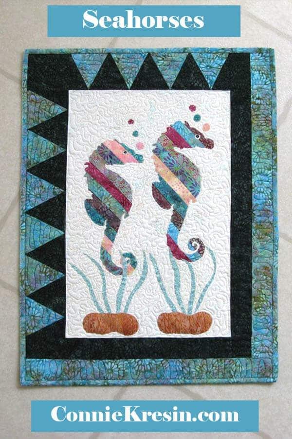 Coastal Seahorses appliqued quilt pattern