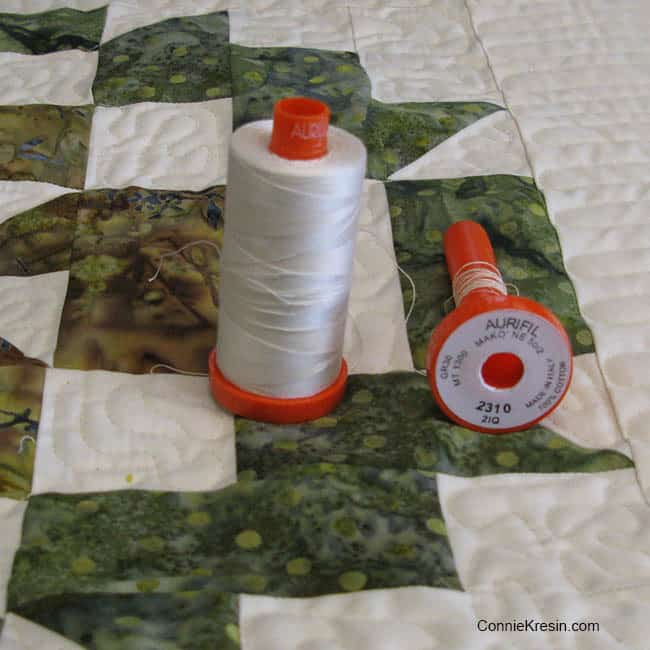 Aurifil thread 2310 for Peppermint Bark quilt