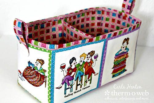 Craftsy-fabric bin with divider