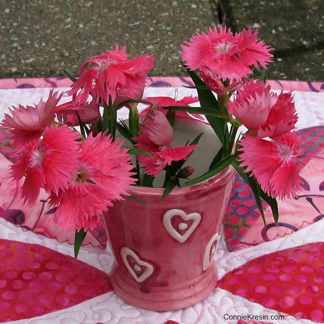 Dianthus flowers match Cherry Berry batiks - ConnieKresin.com