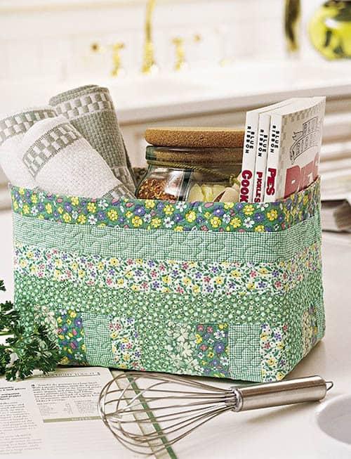 Green Quilt Basket Tutorial