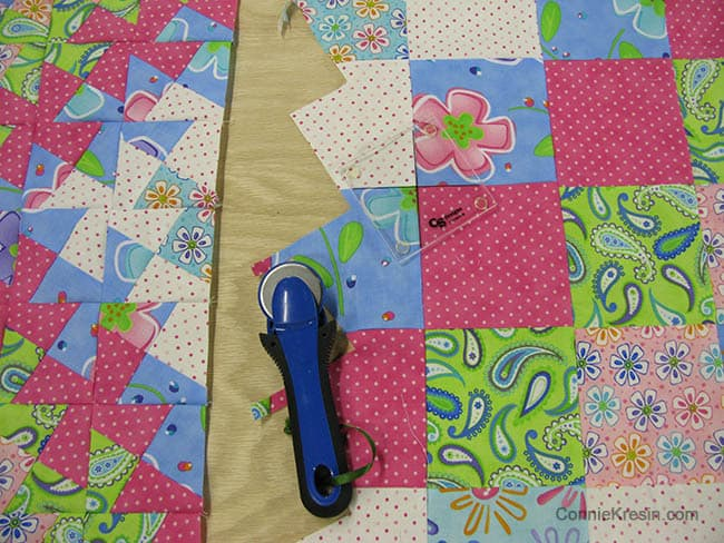Worldy Twister Baby Quilt Tutorial cutting