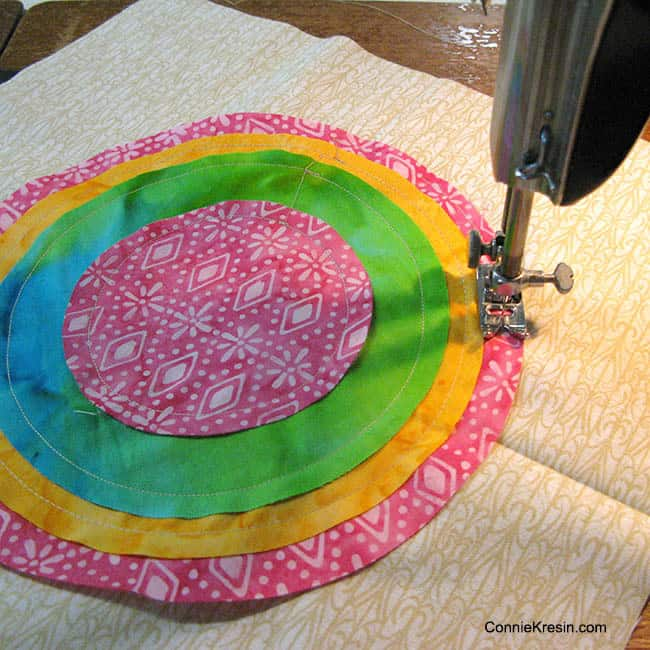 Quarter inch seam on bulls eye quilt block