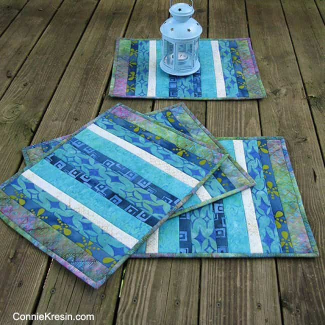 Batik QAYG 4 placemats tutorial