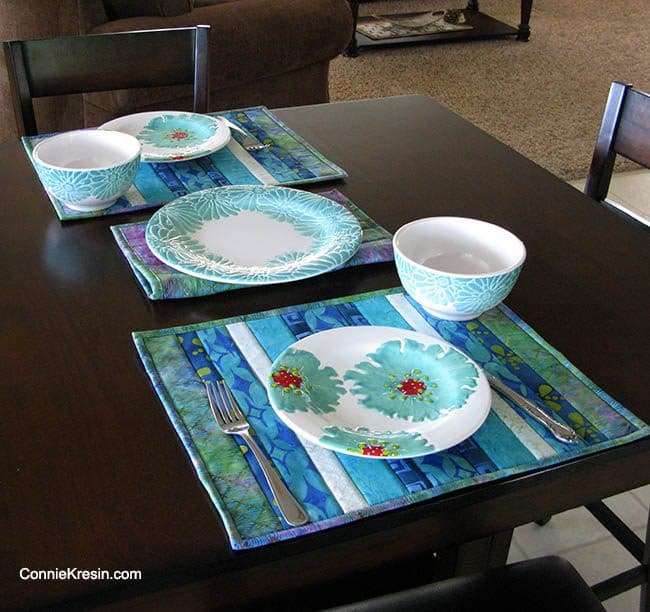 Batik QAYG placemats tutorial QAYG Island Batik Placemats table