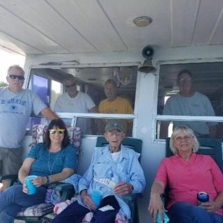 family on house boat
