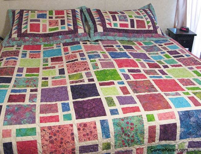 Scattered quilt on the bed