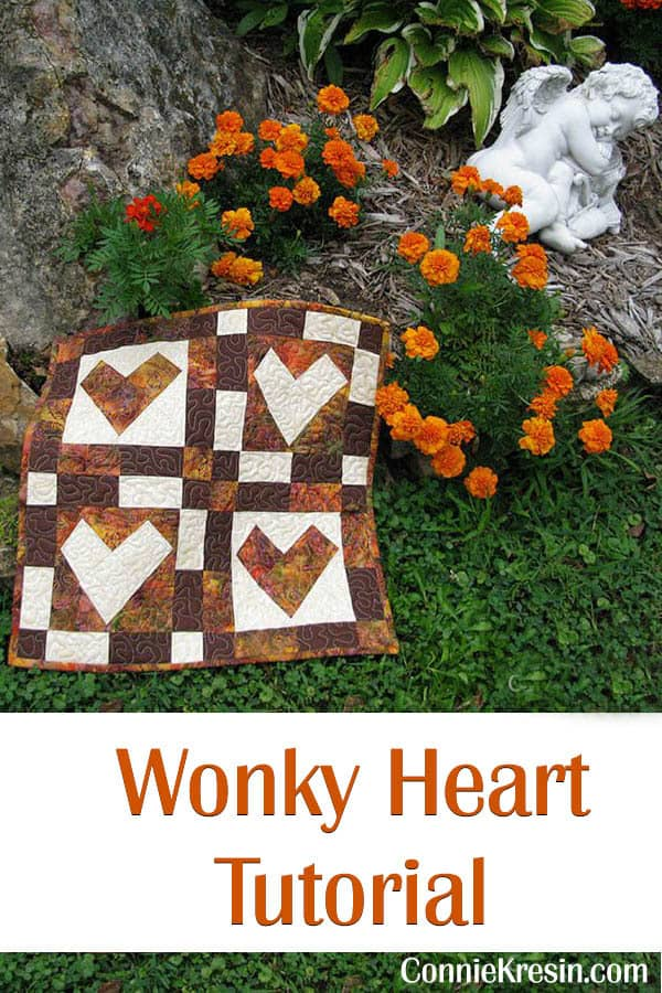 Wonky Heart Table Topper Tutorial ConnieKresin.com
