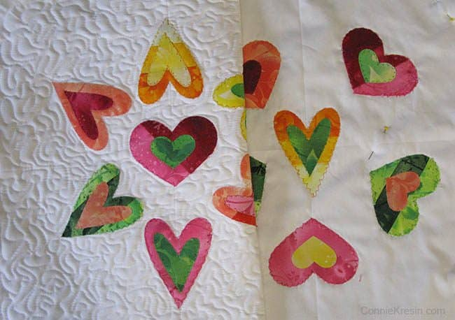 Quilted heart applique pillows tutorial freemotion by the river