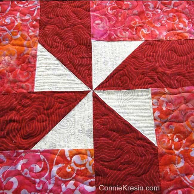 Closeup of Christmas Pinwheels tablerunner