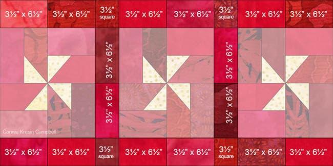Christmas Pinwheels tablerunner Border diagram