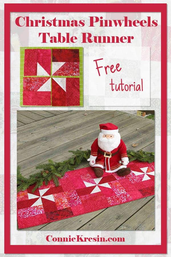 Christmas Quilted Pinwheels table runner tutorial