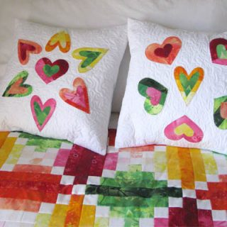 Quilted Heart Applique Pillows Tutorial