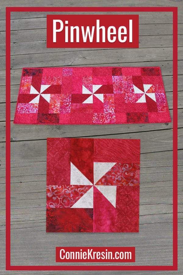 Batik pinwheel quilt block and table runner tutorial