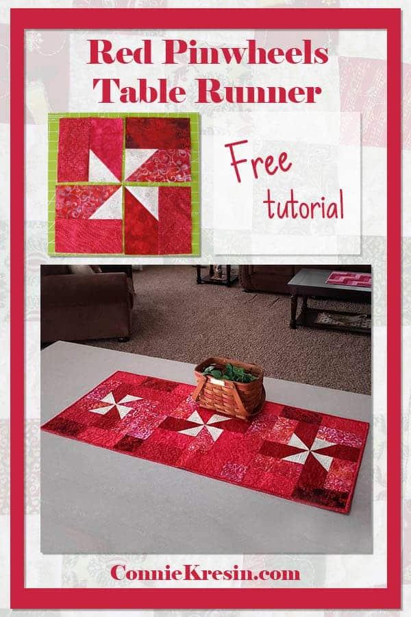 Red Valentine Pinwheel Table runner tutorial
