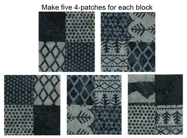 Alpine Snowflakes 4 patch blocks