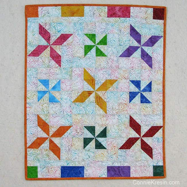 Batik Pinwheel Baby Quilt tutorial