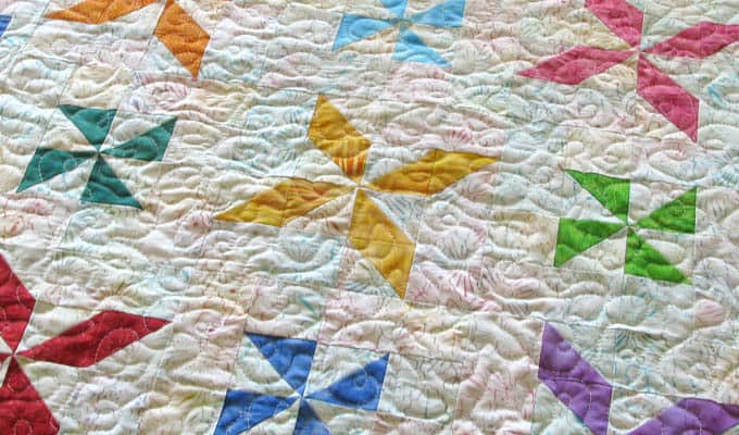 Batik Baby Quilt quilted