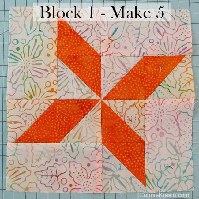 Block 1 for the batik baby quilt