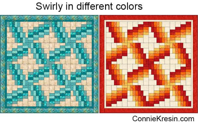 Swirly quilt in different colors
