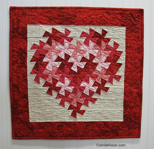 Free Quilt Tutorial Twisting Heart Valentine at ConnieKresin.com