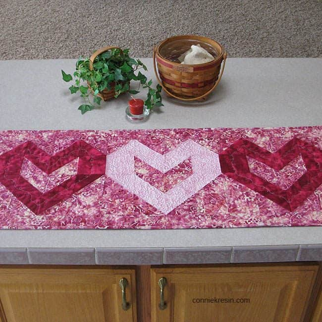 Heart Table Runner Tutorial batiks