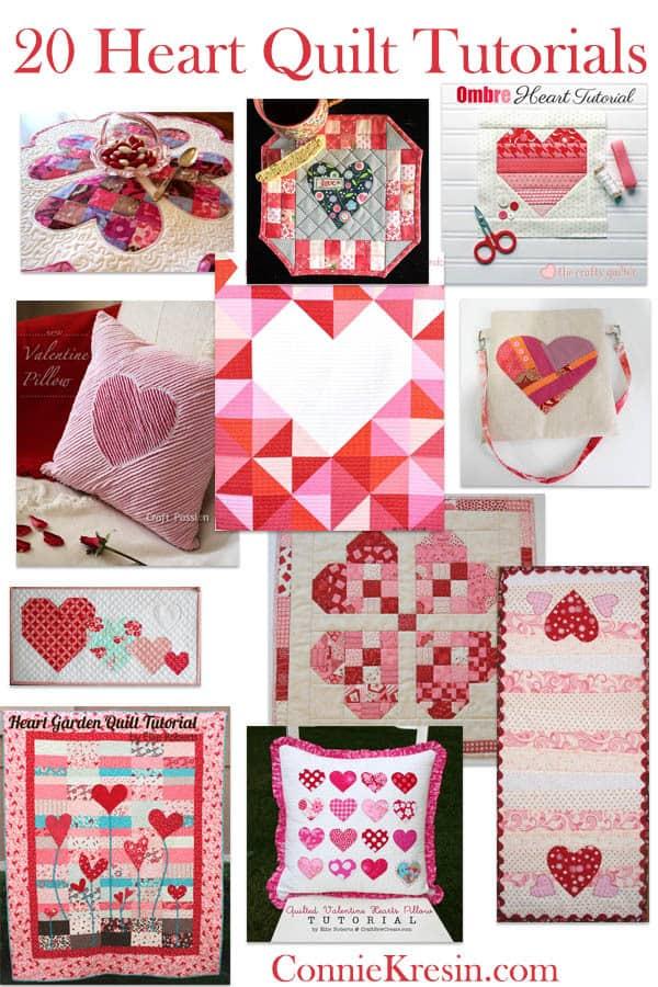 20 Free Heart Quilt Tutorials