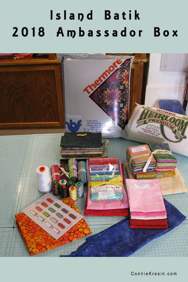 2018 Island Batik Ambassador box of fabrics thread and batting to be used for projects this year and shared #islandbatik #aurifil #hobbs @islandbatik @aurifil
