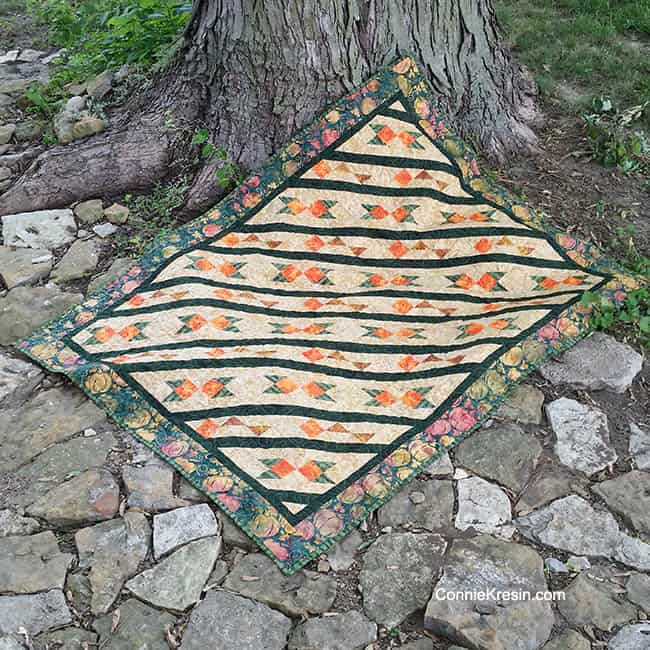 Arrowhead Quilt Pattern made with #IslandBatik Pumpkin Patch collection #aurifil Easy pattern with full-color diagrams ConnieKresin.com