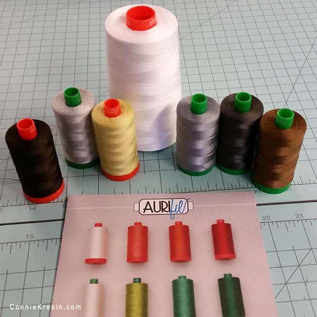 Aurifil Threads in Island Batik Ambassador box