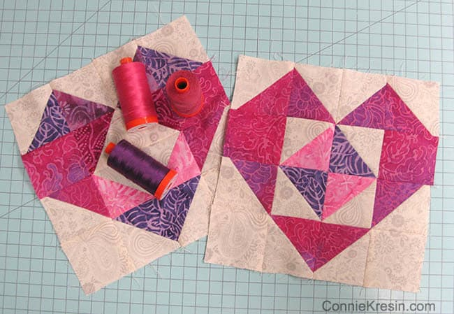 Heart Batik Blocks Aurifil thread