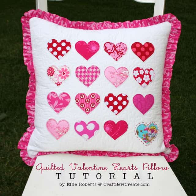 Craftsewcreate hearts Pillow tutorial