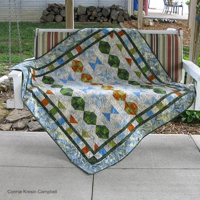 Starboard Quilt Pattern is fast and easy to make in lots of beautiful colors and fabrics #batiks #quilting #quilt